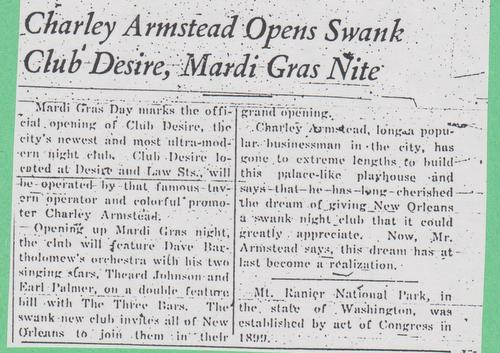 A newspaper clipping announcing the opening of Club Desire. (courtesy of Dana Buefort)