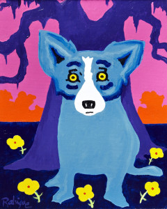 Acrylic on canvas painting by George Rodrigue (New Orleans, 1944-2013), titled Springtime in Louisiana (est. $30,000-$40,000)