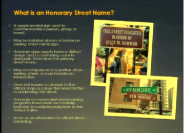 The city may soon get new guidelines for creating honorary street names (City Planning Commission).