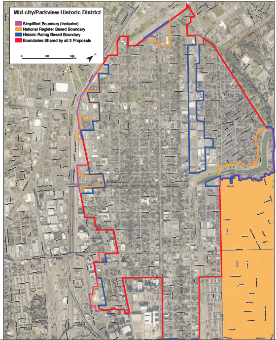 Proposed Mid-City and Parkview historic districts (photo from HDLC).