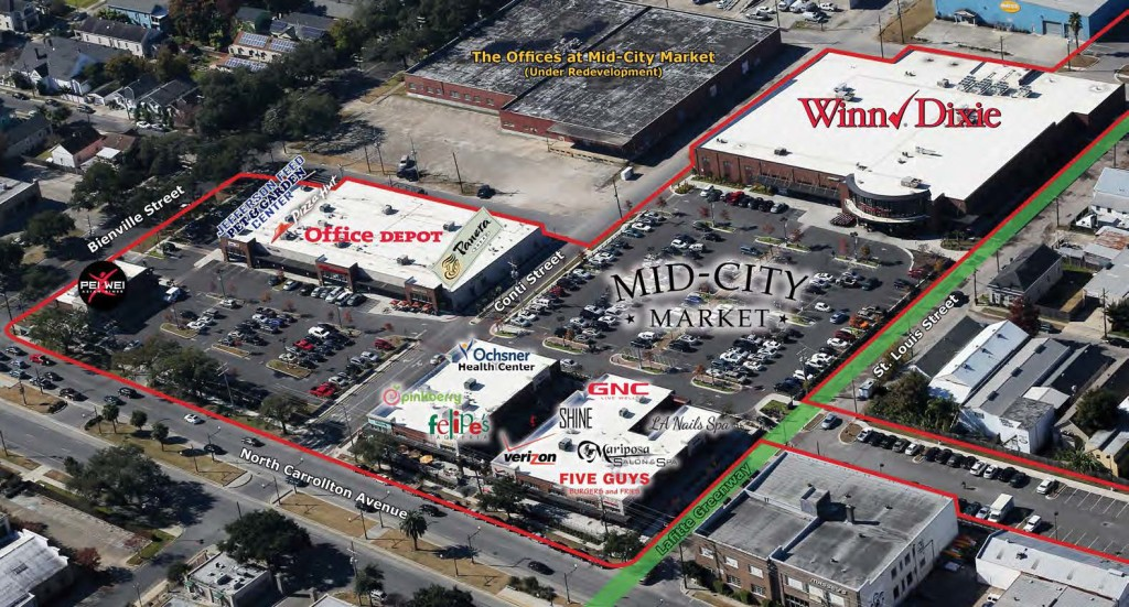 An aerial view of Mid-City Market (photo from mid-citymarket.com).