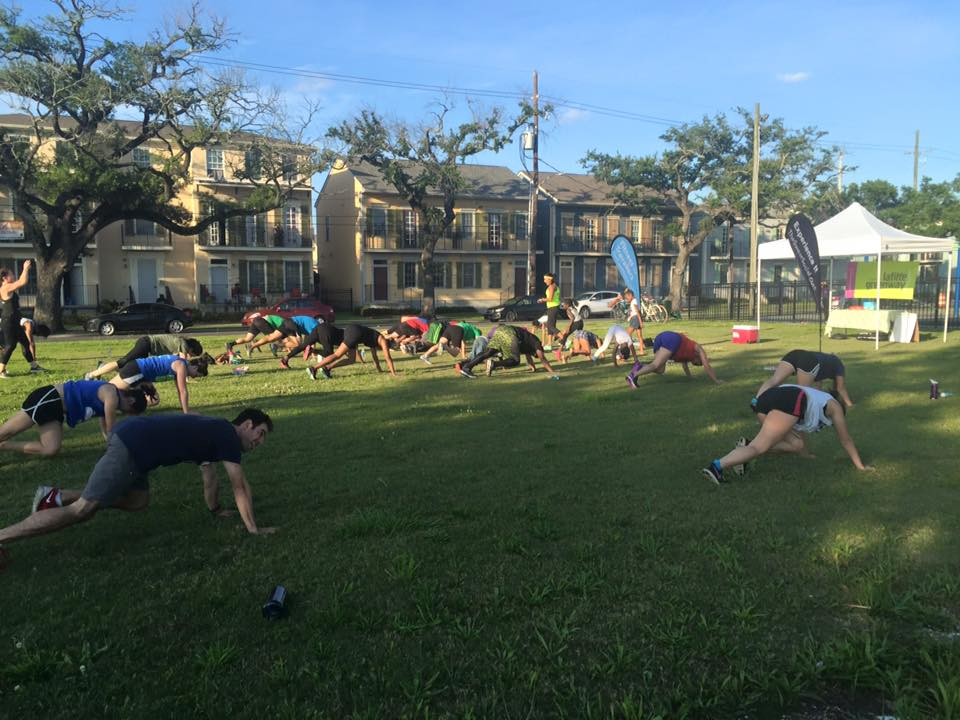Residents work out during fitness classes organized by Friends of Lafitte Greenway (Tulane-Canal Neighborhood Association).