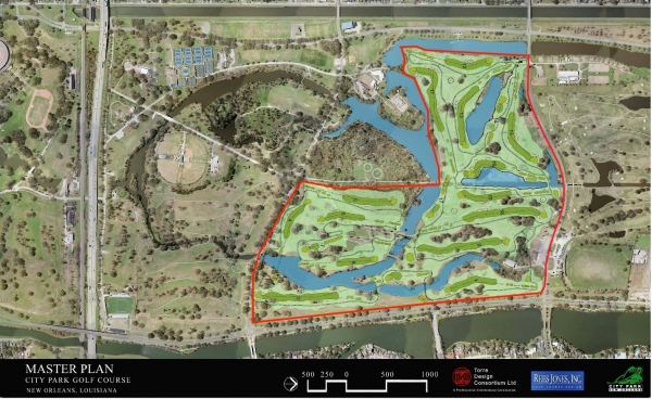 The area of City Park's new championship golf course (New Orleans City Park).