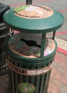 Athens, Georgia has public recycling bins right next to their public trash cans.