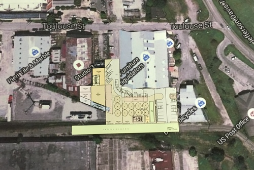 A map showing the proposed location of the new beer and wine garden along the Lafitte Greenway.