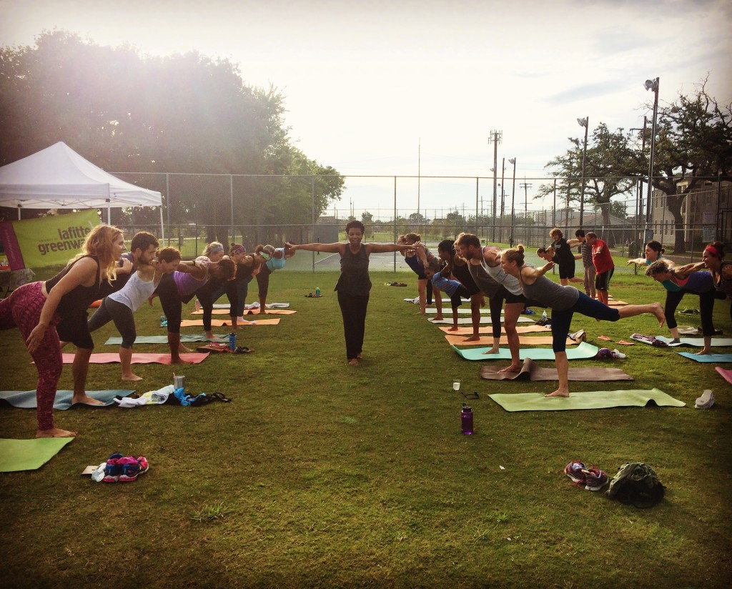 The Ohm Well's Valerie McMillan leads Hot Yoga class (via Friends of Lafitte Greenway)