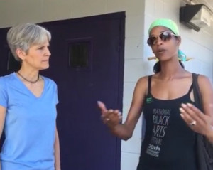 Jill Stein and Anika Ofori speak in a Facebook Live broadcast from Denham Springs on Monday, Aug. 22. (via Facebook)