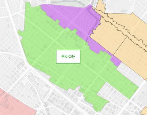 The proposed Mid-City historic district is in green; Parkview is in purple, and Esplanade Ridge is the peach color. (via City of New Orleans)