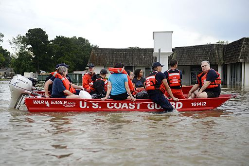 Coast Guardsmen rescue stranded residents from high water during severe flooding around Baton Rouge, LA on Aug. 14, 2016. Coast Guard photo by Petty Officer 3rd Class Brandon Giles (courtesy of U.S. Department of Agriculture).