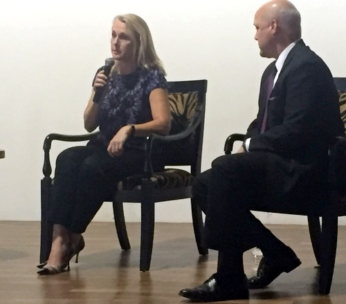 "Piper Kerman, author of ""Orange is the New Black,"" speaks with Mayor Mitch Landrieu on Wednesday evening at Ashe Cultural Arts Center. (photo by Claire Byun for MidCityMessenger.com)"