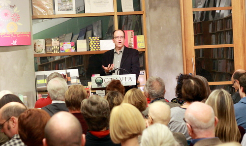 "Author Michael Tisserand reads from his new book ""Krazy"" at Octavia Books on Tuesday, Dec. 6. (Robert Morris, UptownMessenger.com)"