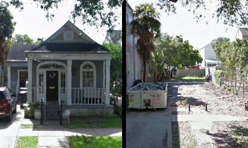 The house at 506 Nashville photographed in June 2015, and the vacant lot in April 2016. (via Google maps)