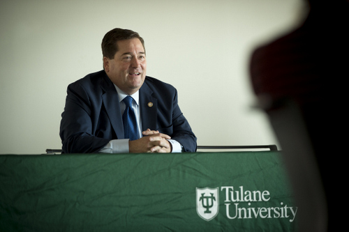 Lt. Gov. Billy Nungesser speaks Monday at the kick-off of Tulane University's new ByWater Institute fellowship program. (photo by Paula Burch-Centano, courtesy of Tulane University)