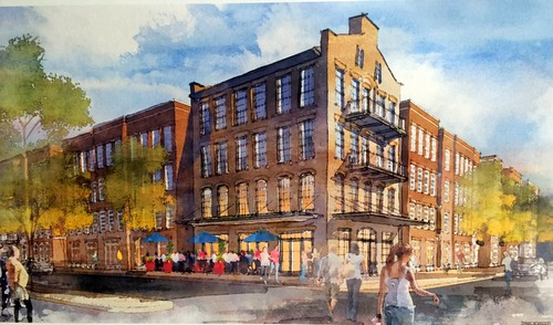 A rendering of the proposed apartment development was on display at Monday's meeting of the Coliseum Square Association. (photographed by Claire Byun, UptownMessenger.com)