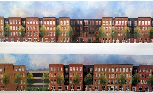 The side view of the proposed apartment development. (photographed by Claire Byun)