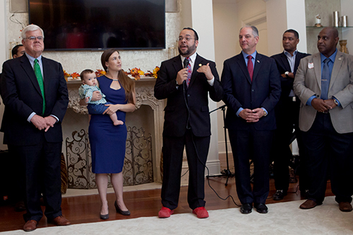 State Sen. J.P. Morrell (center) speaks at a fundraiser Thursday night. (photo courtesy of J.P. Morrell campaign)