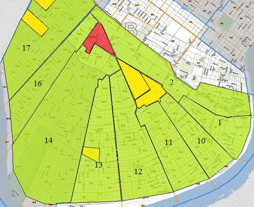 Firefighters' pension tax results, by precinct: Precinct 14-26 (in red) was the only Uptown precinct to vote against the tax. Five others (in yellow) voted yes but with narrow margins of 50 to 55 percent. Everywhere else (in green) the tax passed easily. (map by UptownMessenger.com)