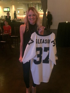 Raffle winner at 'Gleason' DVD premiere. Raffle prizes included a signed Gleason Jersey. (Stephanie Standige)