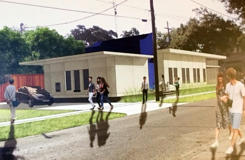 The proposed bank drive-through exits onto Antonine Street, according to renderings shown to neighbors. (photo courtesy of Robert Kocher)