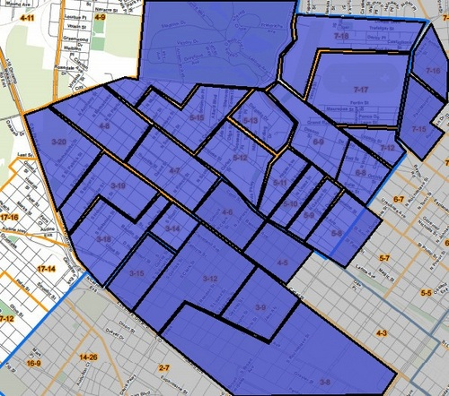 A map of Mid-City voting precincts -- dark blue represents Clinton margins of more than 10 percentage points. (map by MidCityMessenger.com, data source: sos.la.gov)