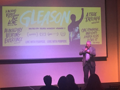 Paul Varisco, father-in-law to Steave Gleason, introduces the 'Gleason' DVD at its premiere event at The Cannery in Mid-City, Nov. 2 (Stephanie Standige)