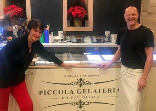 Ross and Ria Turnbull smile next to the gelato counter at Piccola Gelateria. (Photo by Caroline Gonzalez)