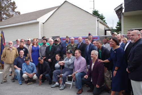 The New Orleans Veterans of Foreign War Post 8973 (VFW) celebrates the groundbreaking of its new facility with members of the post, public officials, and the project's general contractor, Design Management Group. (photo courtesy of Serah Ridolfo)