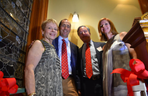L to R: McGehee Headmistress Eileen Powers, Richard Currence, George Young, Mathilde Villere Currence